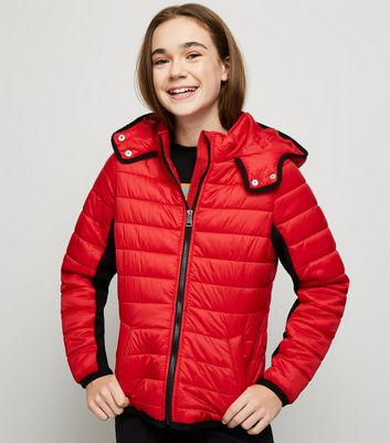 Girls Red Piped Contrast Puffer Jacket