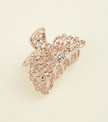 Rose Gold Premium Diamanté Filigree Bulldog Clip