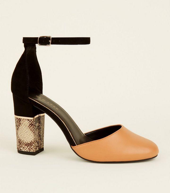 e66cd2ee8ce Brown Suedette Faux Snakeskin Block Heel Sandals