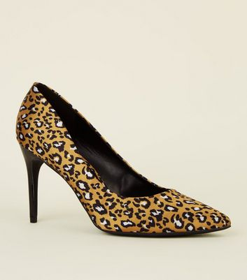 Mustard Satin Leopard Print Pointed Courts