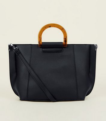 Black Resin Handle Tote Bag