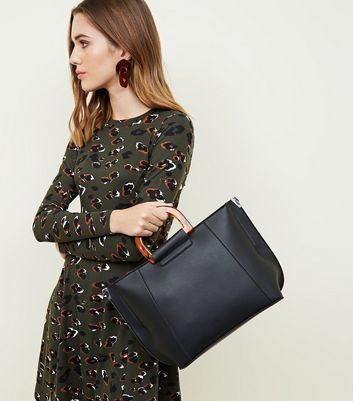 Black Resin Handle Tote Bag New Look