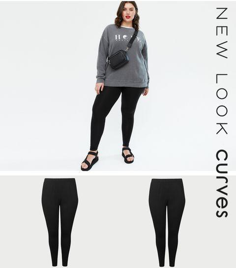cca615340dd4f ... Curves 2 Pack Black Stretch Cotton Leggings ...