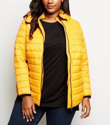 Curves Mustard Hooded Puffer Jacket