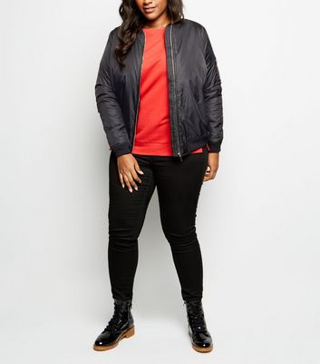 Curves Black Padded Bomber Jacket