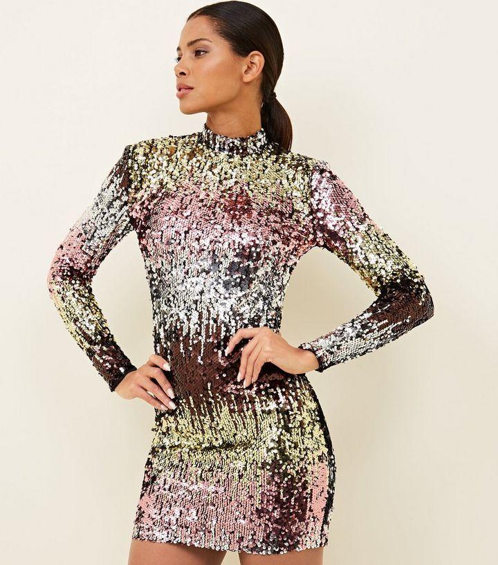 6893ca64b6 Multicoloured Ombré Sequin Bodycon Dress