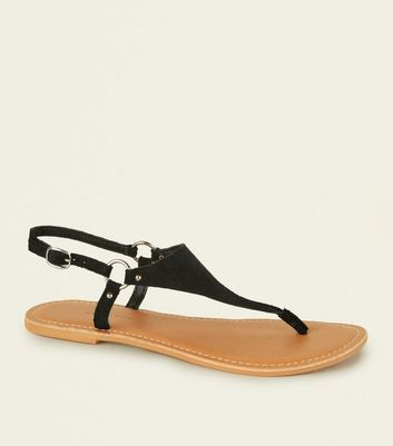 Wide Fit Black Suede Flat Sandals