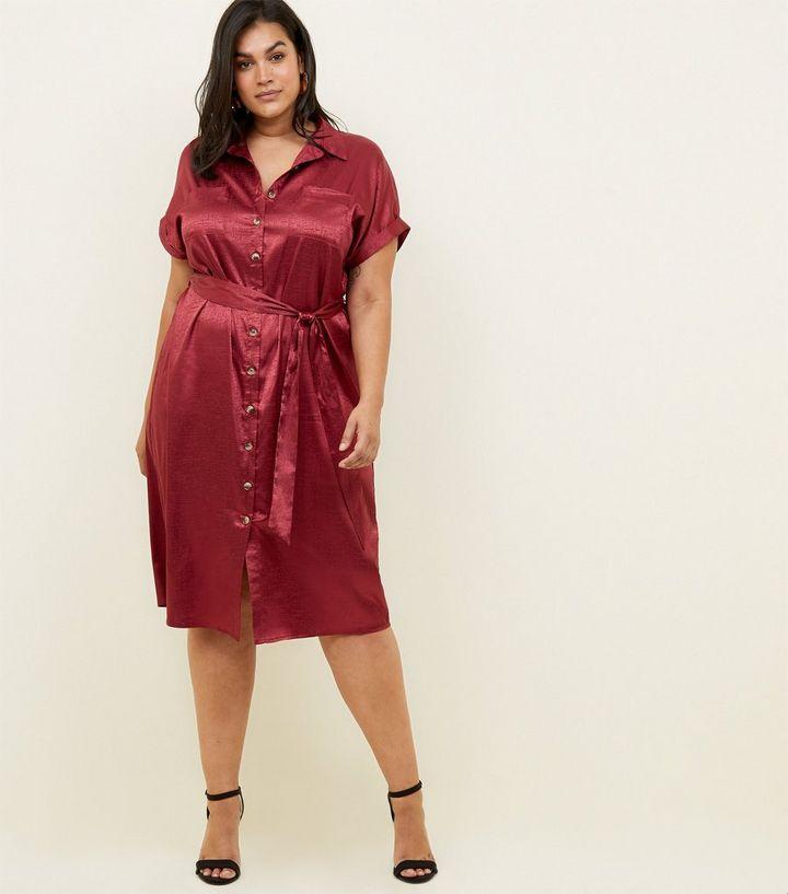 9c3fb4663d31 ... Curves Burgundy Textured Satin Midi Shirt Dress. ×. ×. ×. Shop the look