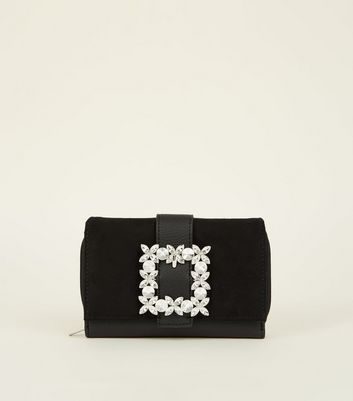 Black Diamanté Buckle Purse
