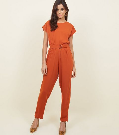 ebe806c041 ... Orange D-Ring Belted Jumpsuit ...