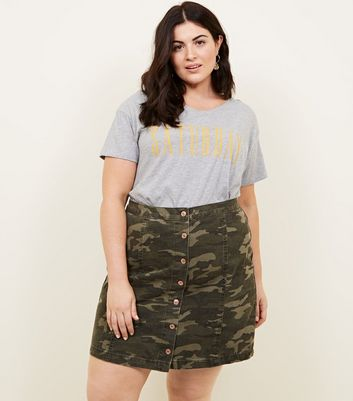 Curves Green Camo Denim Skirt