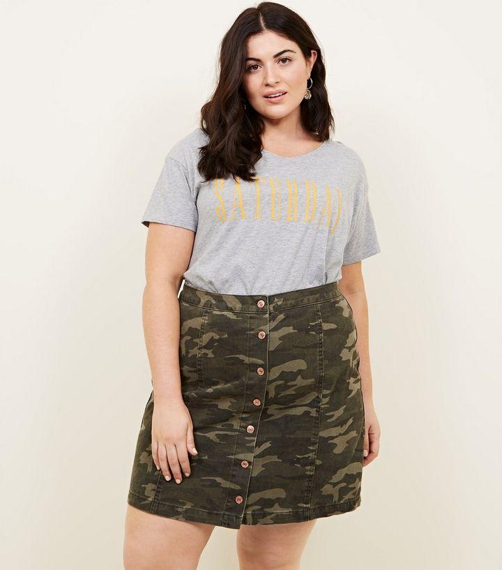 d4e977660c378 Curves Green Camo Denim Skirt | New Look