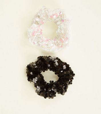 Black and White 2 Pack Sequin Embellished Scrunchies