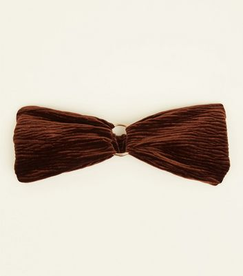 Brown Ribbed Velvet Ring Front Headband
