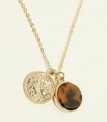 Gold Faux Tortoiseshell and Coin Pendant Necklace