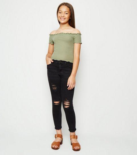 774c0fdd6e6 ... Girls Black Ripped High Waist Skinny Jeans ...
