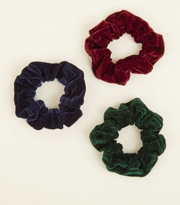 3 Pack Multicoloured Textured Velvet Scrunchies