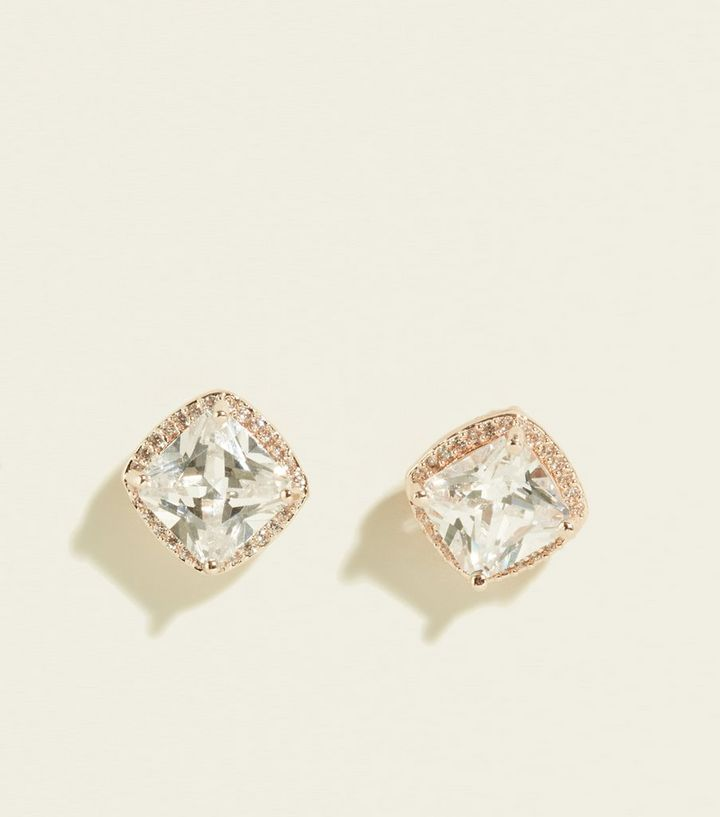 882159199 Rose Gold Cubic Zirconia Chunky Stud Earrings | New Look