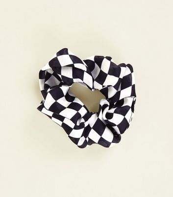 Black And White Checker Board Scrunchie