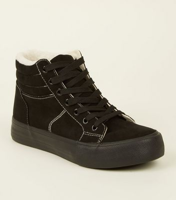 Black Suedette High Top Borg Trainers