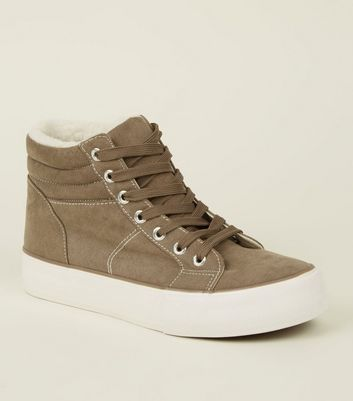 Light Brown Suedette High Top Borg Trainers