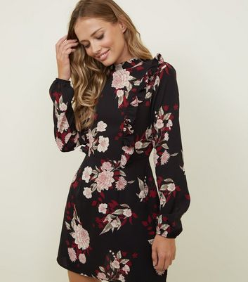 AX Paris Black Floral Frill Yoke Dress