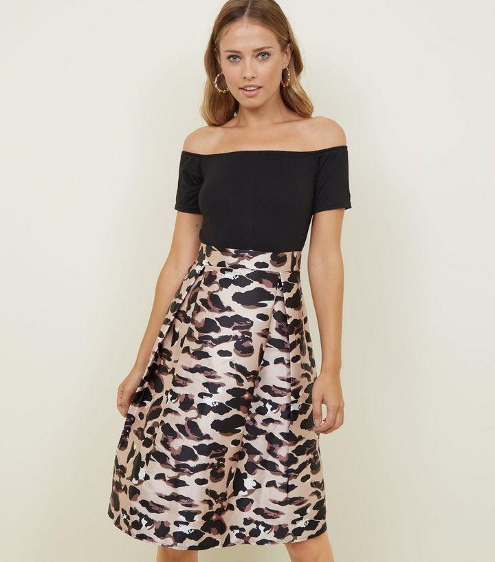 a42574c90359 AX Paris Black 2-In-1 Leopard Print Midi Dress | New Look