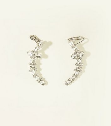 Re-Born 2 Pack Silver Crystal Ear Cuffs