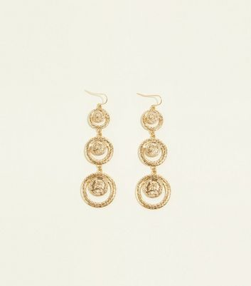 Re-Born Gold Graduated Coin Drop Earrings