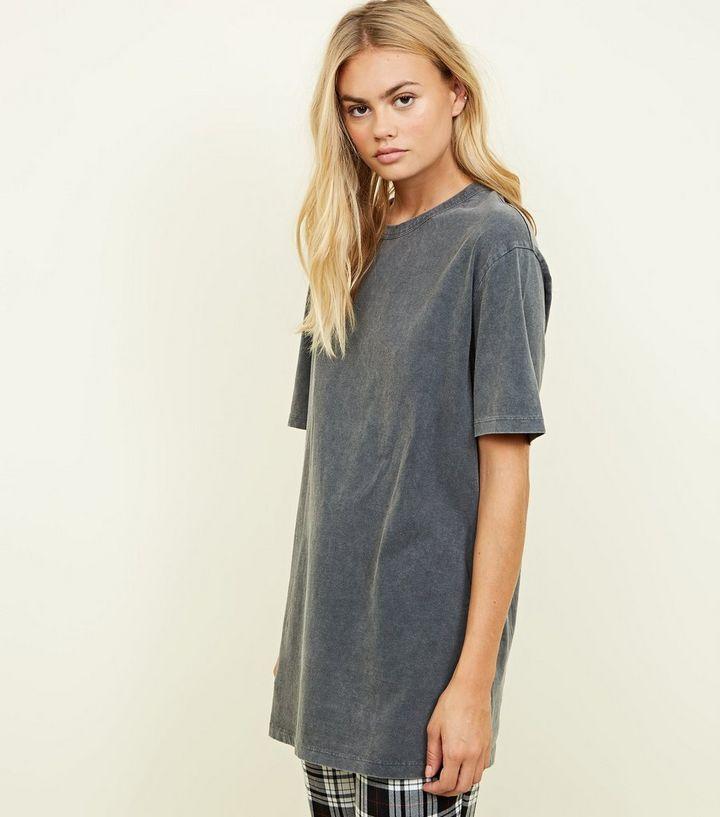 02029db801e Grey Acid Wash Oversized T-Shirt