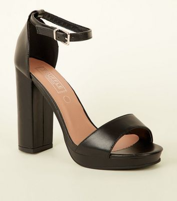Black Platform Block Heel Sandals