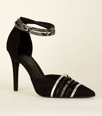 Wide Fit Black Suedette Faux Snakeskin Strappy Stiletto Courts