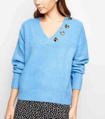 Blue V Neck Button Front Jumper