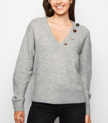 Grey Button V Neck Jumper