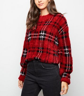 Red Tartan Check Fluffy Jumper