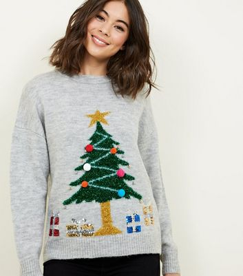 Light Grey Christmas Tree Jumper