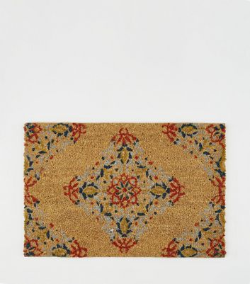 Brown Tile Print Door Mat