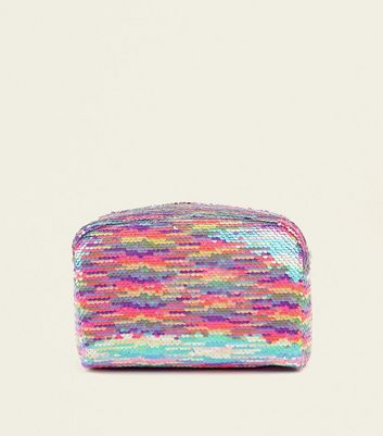 Rainbow 2 Way Sequin Large Make Up Bag