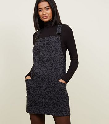 Dark Grey Leopard Print Denim Pinafore Dress