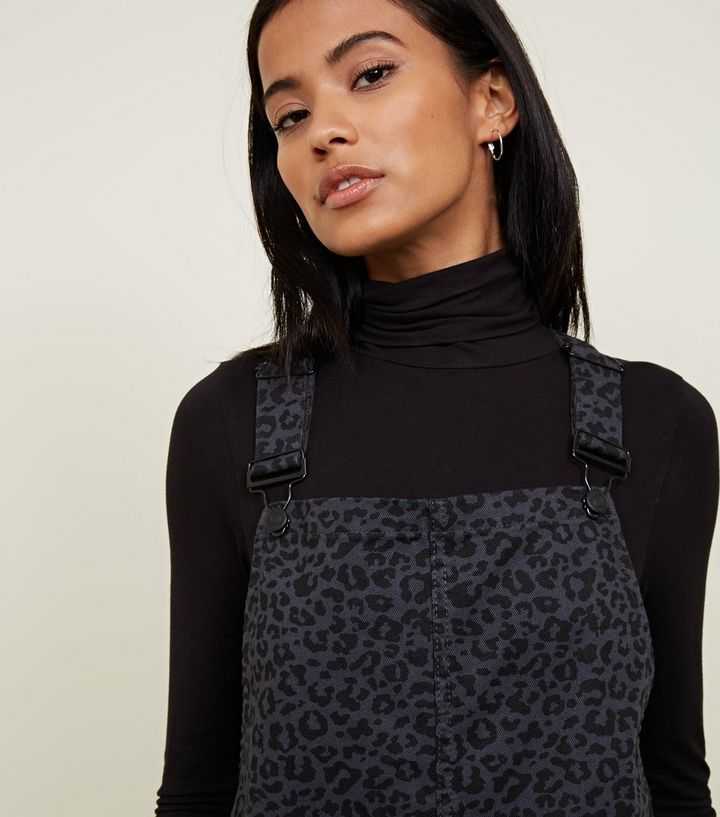 ... Dark Grey Leopard Print Denim Pinafore Dress. ×. ×. ×. Shop the look cd831f32b