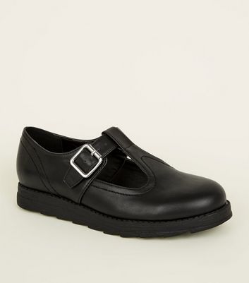 Girls Black T-Bar Leather-Look Buckle Shoes
