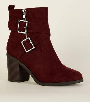 Wide Fit Dark Red Suedette Buckle Cross Strap Boots