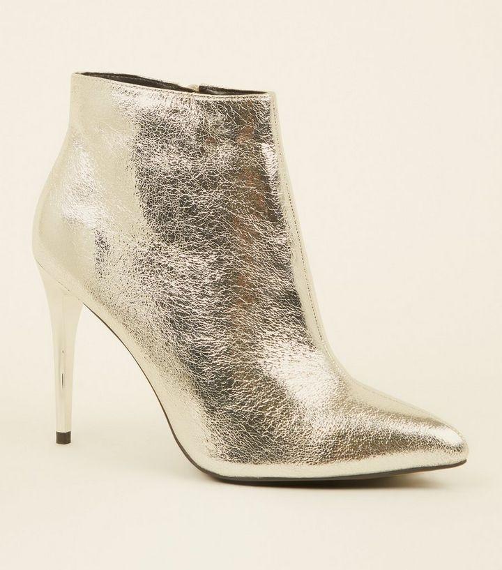 brand new 6c0d5 34437 Silberne Ankle Boots mit Metallic-Absatz im Used-Look Für später speichern  Von gespeicherten Artikeln entfernen