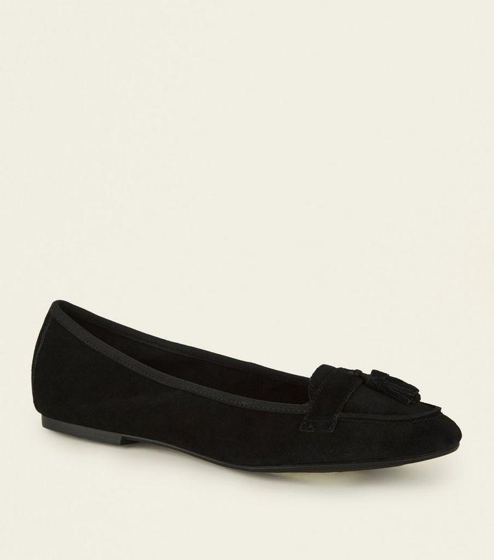 d6280900105 Wide Fit Black Suede Tassel Trim Loafers