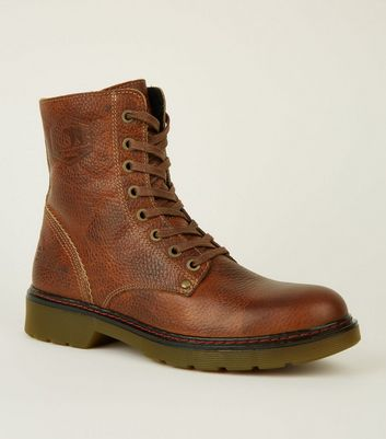 Rust Leather Lace-Up Hiker Boots