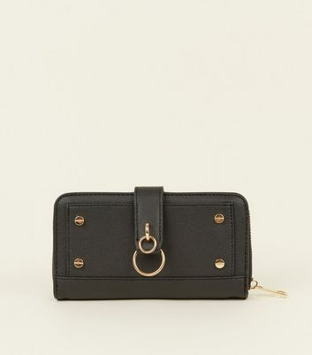 Black Studded Ring Front Purse