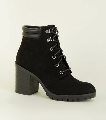 Black Soft Suedette Lace-up Heel Ankle Boots