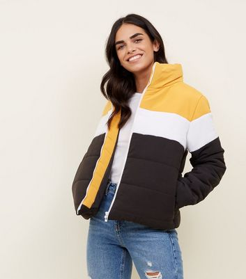 Cameo Rose Yellow Colour Block Puffer Coat