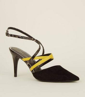 Black Neon and Faux Snake Strap Slingbacks