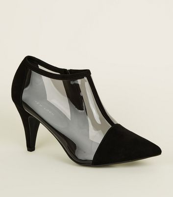 Black Suedette Clear Panel Ankle Boots